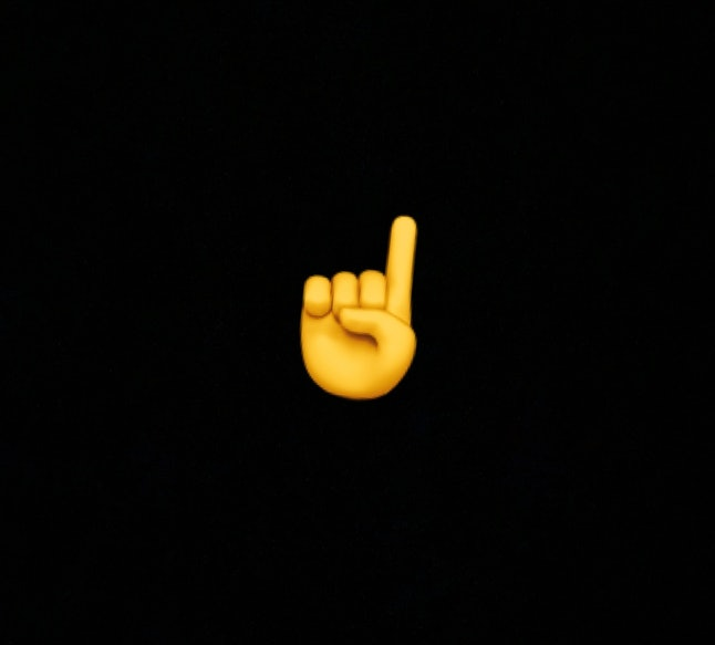 """The finger emoji can represent pointing up or """"Number 1."""""""