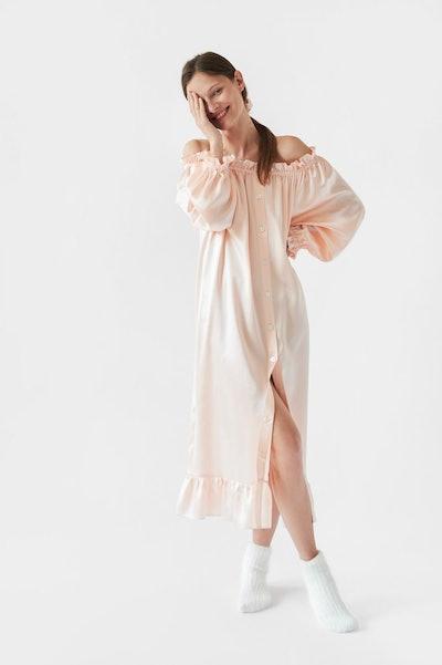 Pudding Beige Silk Loungewear Dress