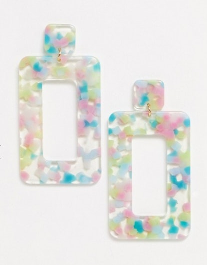 Pieces Square Resin Earrings in Multicolor