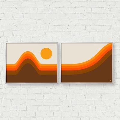 Golden Horizon Print Set, Set of 2
