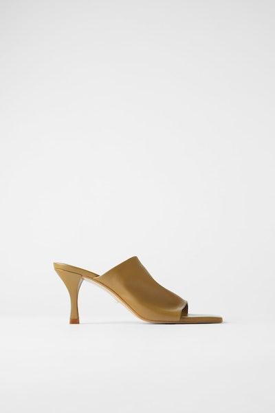 Zara Heeled Soft Leather Square Toe Mules