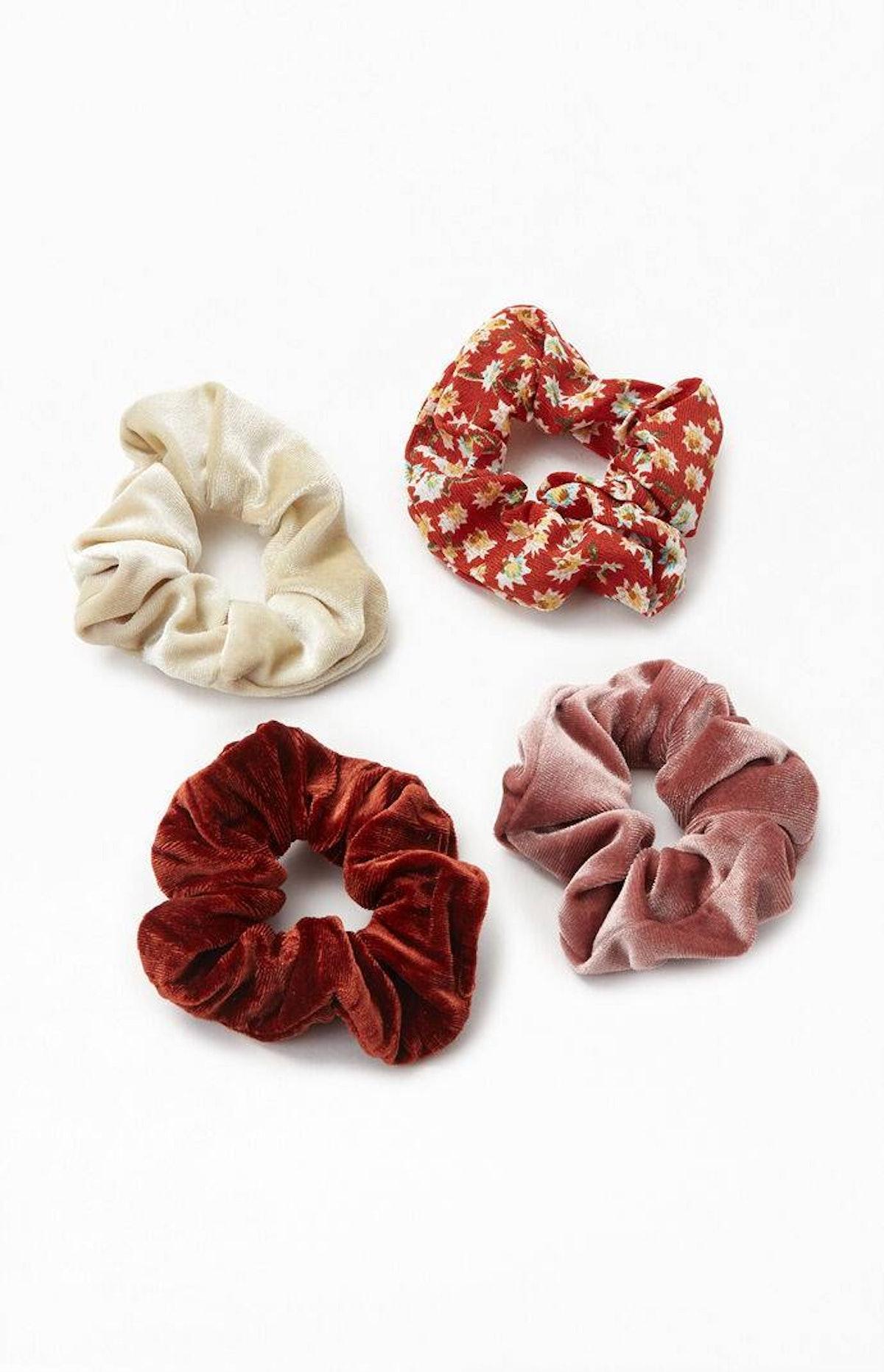 4 Pack Warm Tone Scrunchies