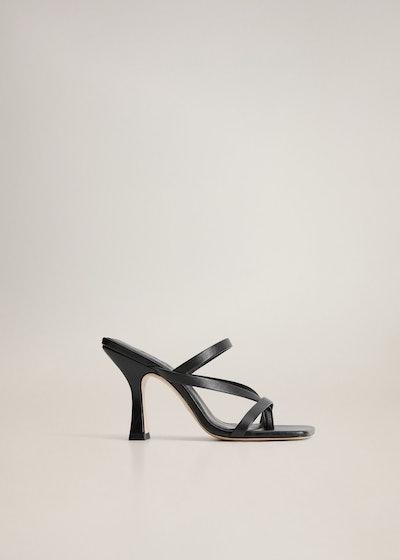 Mango Leather Strap Sandals