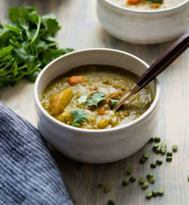 Slow cooker vegetarian split pea soup recipe from Hello Glow is an easy and nourishing dish