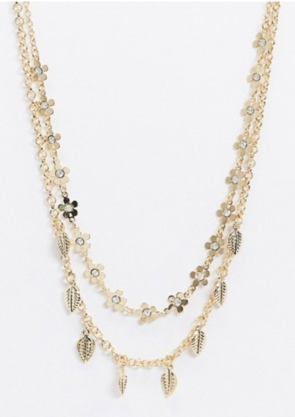 ASOS DESIGN Multirow Necklace with Floral and Leaf Pendants in Gold Tone