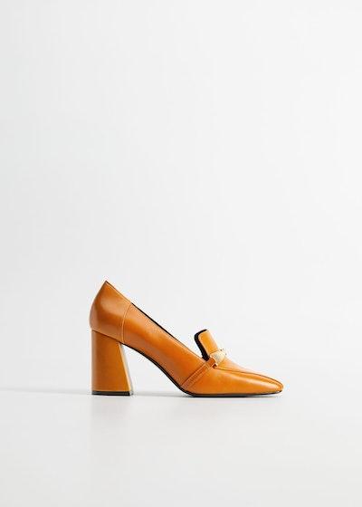 Mango Leather Heel Loafer