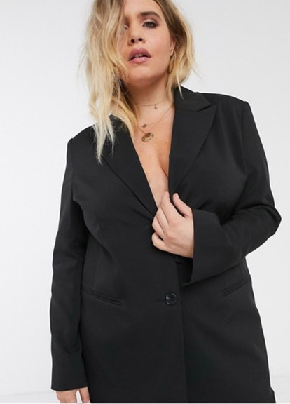 ASOS DESIGN Curve Pop Suit Blazer in Black