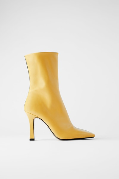 Zara Two-Tone Heeled Leather Ankle Boots