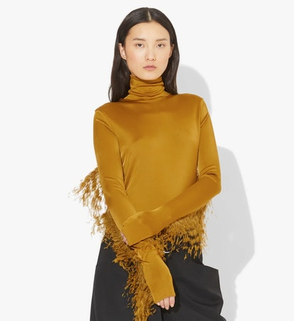 Feather Turtleneck Top - Bright Olive