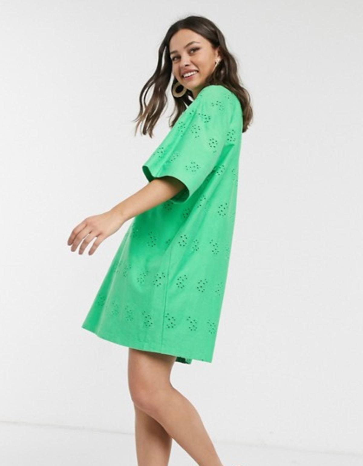 ASOS DESIGN Broderie Super Oversized T-shirt Dress in Green
