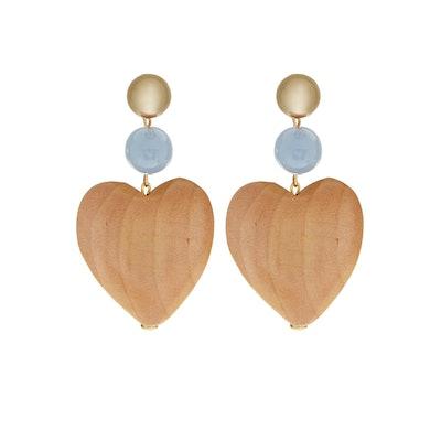 Maple Wood Blue Heart Earrings