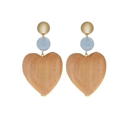 Maple Wood Blue Heart Earrings