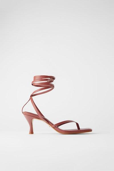 Zara Heeled Leather Square Toe Sandals