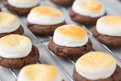 These hot chocolate cookies use cake mix instead of flour.