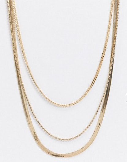 ASOS DESIGN Multirow Necklace with Flat Snake and Curb Chains in Gold Tone