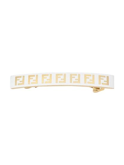 Gold-Tone Ff Logo Hair Barrette White