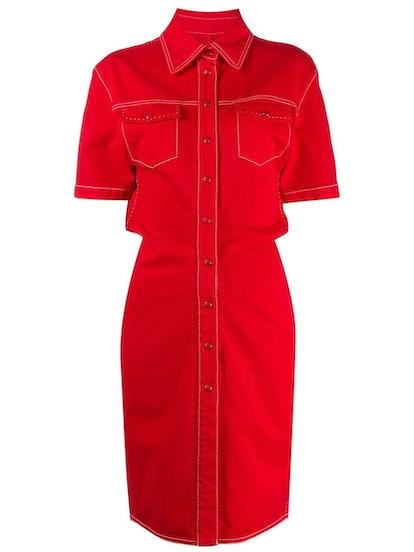 Red Denim Buttoned Dress