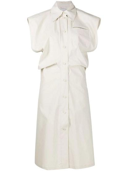 White Sleeveless Buttoned Midi Dress