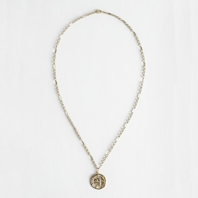 & Other Stories Embossed Coin Pendant Chain Necklace