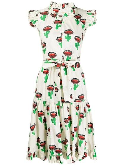 Multicolored Cactus Print Midi Dress