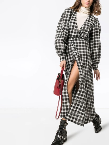 check print maxi dress