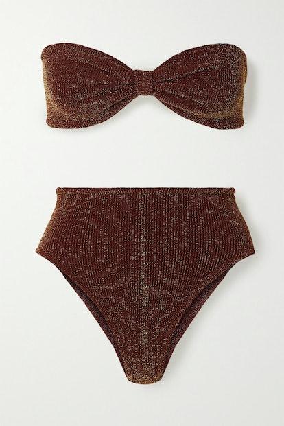 Posey Metallic Seersucker Bandeau Bikini