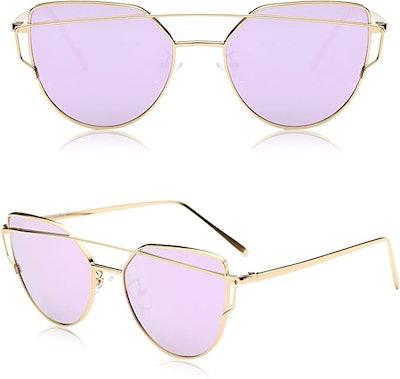 SOJOS Mirrored Metal Frame Fashion Sunglasses