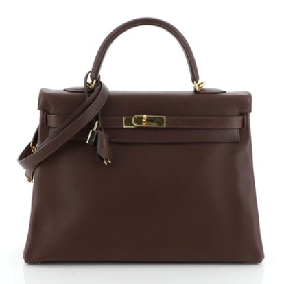 Kelly Handbag Havane Evergrain with Gold Hardware 35