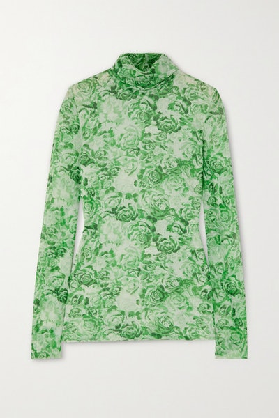 Ganni Floral-Print Stretch-Mesh Turtleneck Top