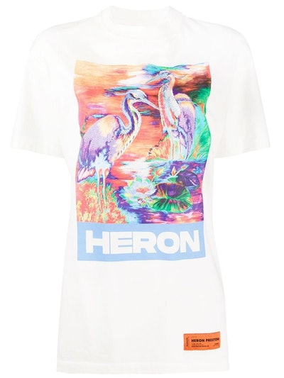 Multicolored Heron T-Shirt White