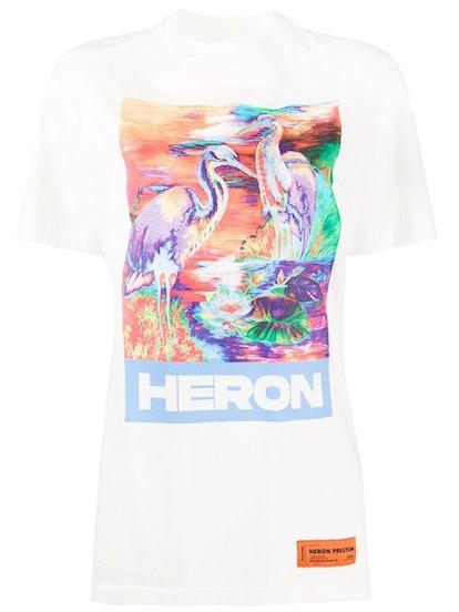 Multicolored Heron T-Shirt White