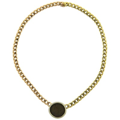 Bulgari Tricolor Gold Roman Empire Ancient Coin Necklace