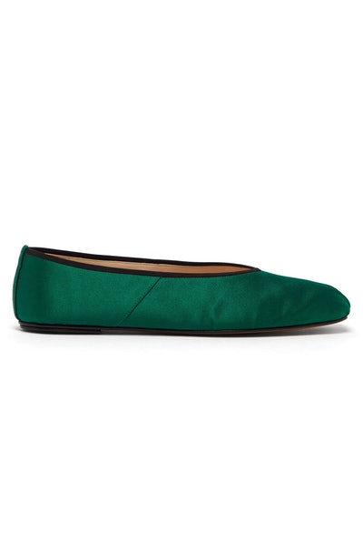 The Row Ballet Square-Toe Satin Flats
