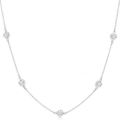 Divine Elegance Sterling Silver CZ Station Necklace, 22