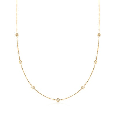 Ross Simons .20ct t.w. Diamond Station Necklace in 14kt Yellow Gold