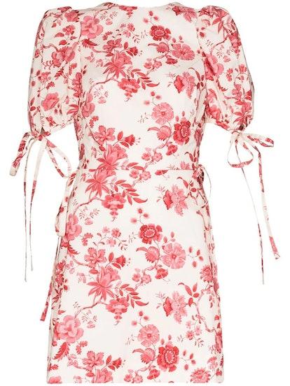 Red Floral Wrapsody Mini Dress