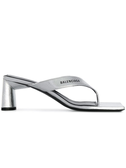 Metallic Silver Crinkled Slide Sandals