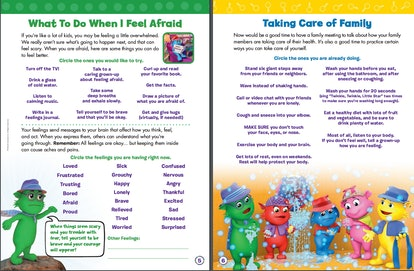 "Sample pages from ""First Aid for Feelings: A Workbook to Help Kids Cope During the Coronavirus Pandemic,"" which is available from Scholastic as a free coronavirus resource for parents and teachers."