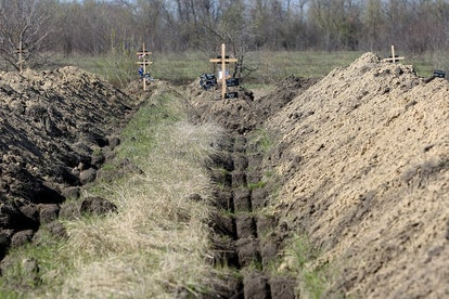 The eastern Ukrainian city of Dnipro has prepared more than 600 graves for coronavirus victims, Apri...