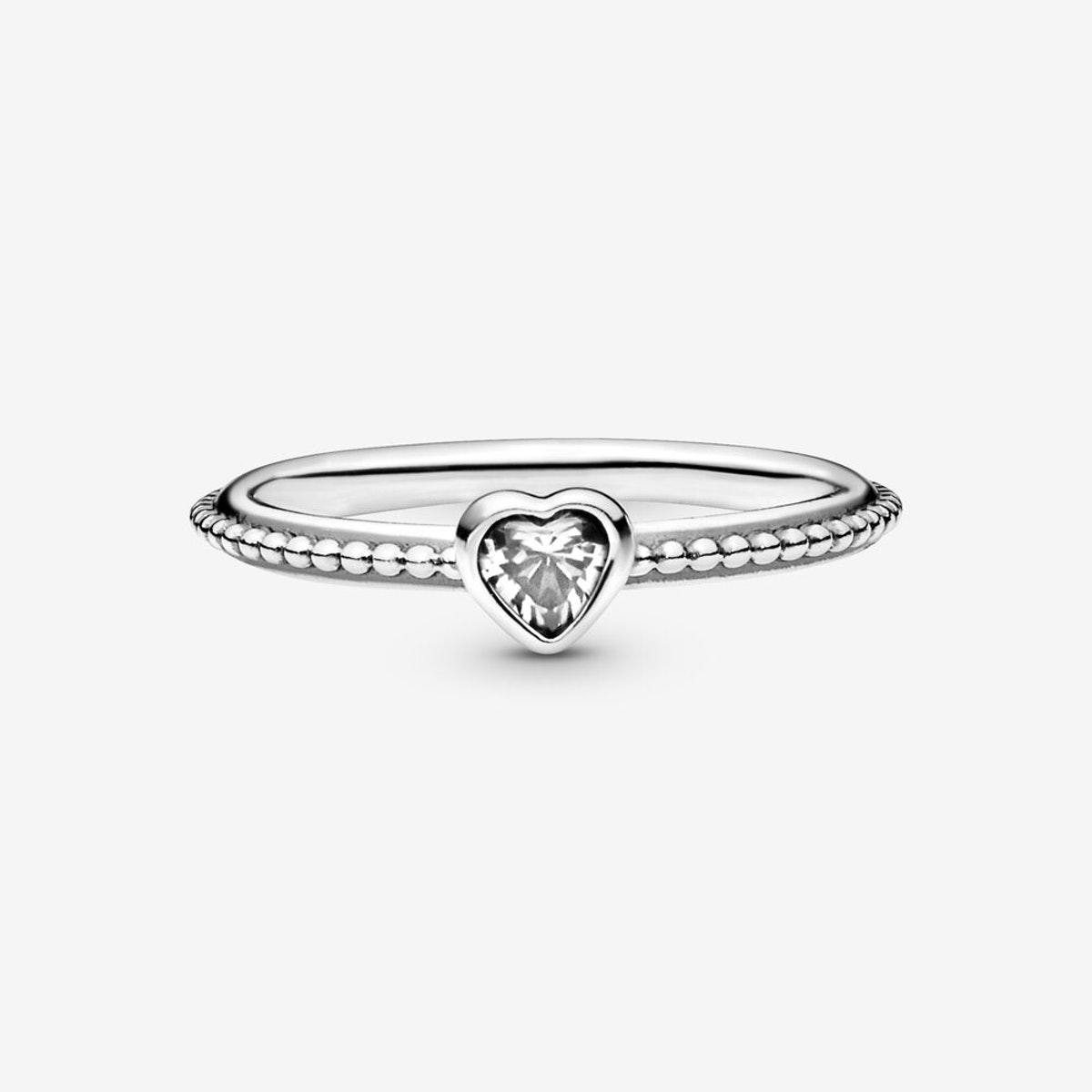 Clear Heart Beaded Ring