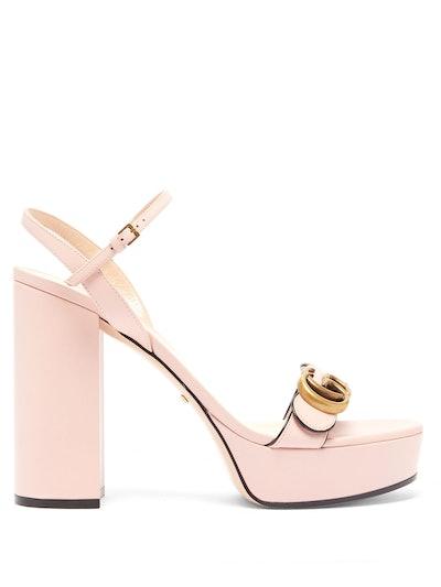 GG Marmont Leather Platform Sandals