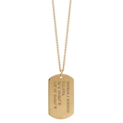 Zoë Chicco 14K Large Engraved Dog Tag Necklace