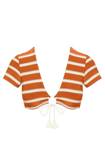 Abi Stripe Tie Front Bikini Tee