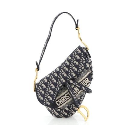 Saddle Handbag Logo Embroidered Oblique Canvas Medium