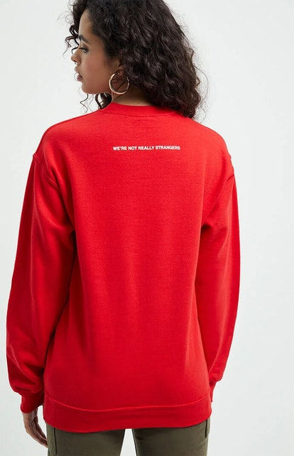 We're Not Really Strangers Hang In There Crew Neck Sweatshirt
