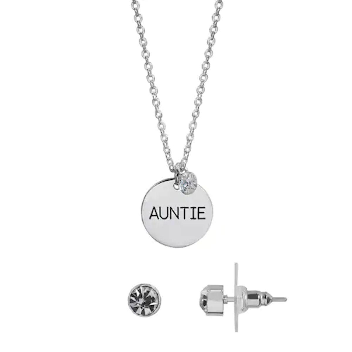 "LC Lauren Conrad ""Auntie"" Pendant Necklace and Stud Earring Set"