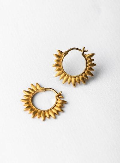 Matte Sun Hoops Gold Pair