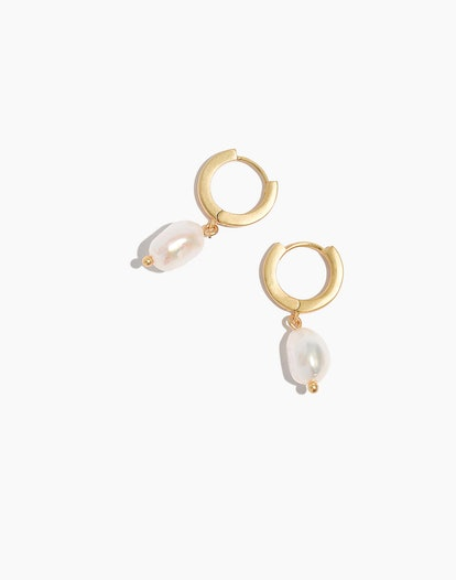 Madewell Pearl Drop Mini Hoop Earrings