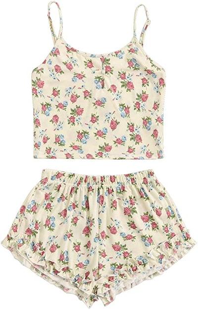 SheIn Floral Print Cami Top and Shorts Pajamas Set