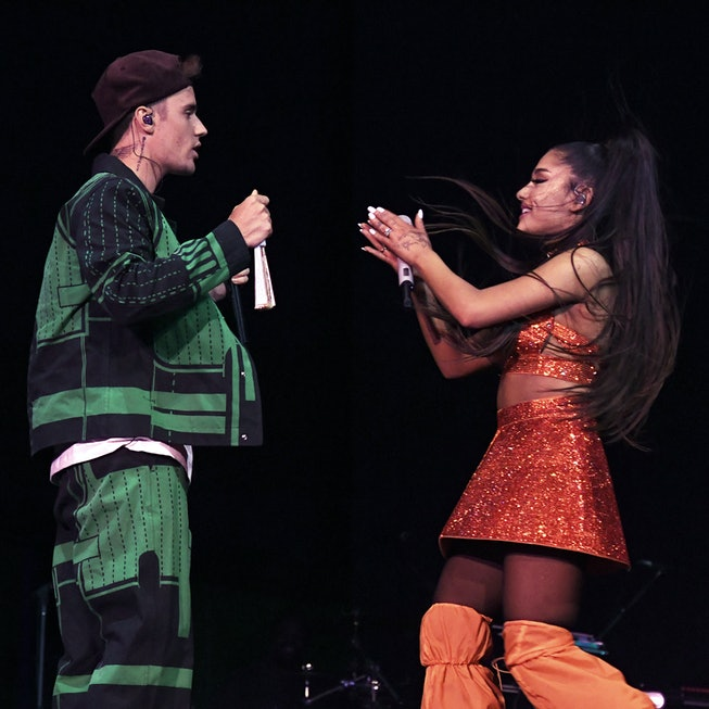 Justin Bieber (L) performs with Ariana Grande at Coachella Stage during the 2019 Coachella Valley Music And Arts Festival on April 21, 2019 in Indio, California.